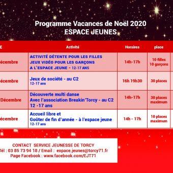 Mairie de Torcy - Programme de L'Espace Jeunes, vacances de Noel